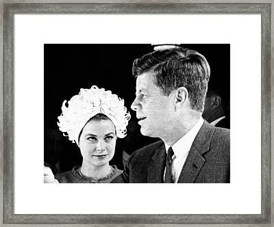 Princess Grace Of Monaco And President Framed Print by Everett