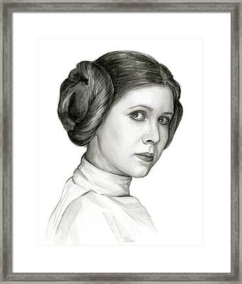 Princess Leia Watercolor Portrait Framed Print