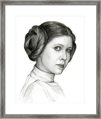Princess Leia Watercolor Portrait Framed Print by Olga Shvartsur