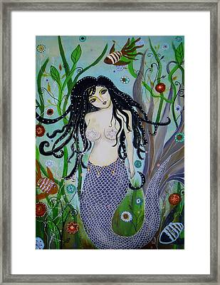 Framed Print featuring the painting Princess Mermaid by Pristine Cartera Turkus