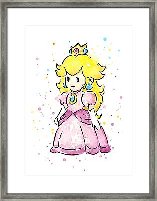 Princess Peach Watercolor Framed Print by Olga Shvartsur
