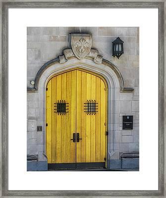 Princeton University Community Hall Door Framed Print by Susan Candelario