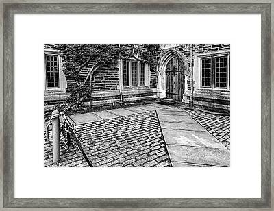 Framed Print featuring the photograph Princeton University Foulke Hall Bw by Susan Candelario