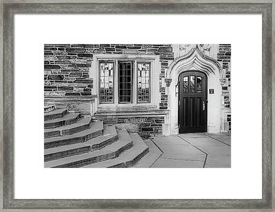 Framed Print featuring the photograph Princeton University Lockhart Hall Bw by Susan Candelario