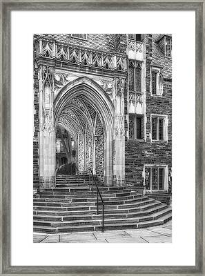 Framed Print featuring the photograph Princeton University Lockhart Hall Dorms Bw by Susan Candelario