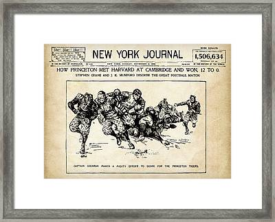 Framed Print featuring the mixed media Princeton Vs Harvard - New York Journal 1896 by Daniel Hagerman