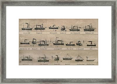 Print Depicting 19 Early Steamships Framed Print by Everett