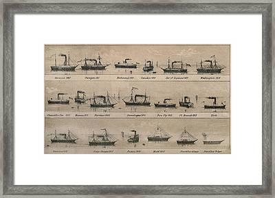 Print Depicting 19 Early Steamships Framed Print