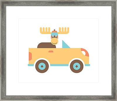 Moose Road Trip Framed Print by Mitch Frey