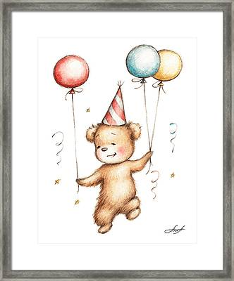 Print Of Teddy Bear With Balloons Framed Print by Anna Abramska