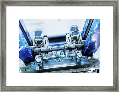 Print Screening Metal Machine Details. Framed Print by Michal Bednarek