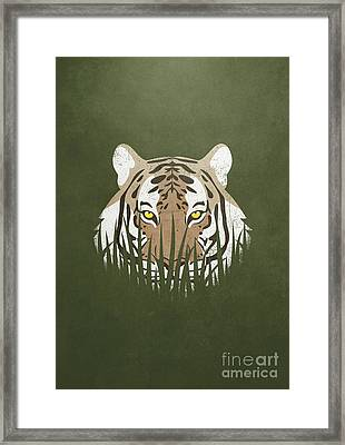 Hiding Tiger Framed Print by Sinisa Kale