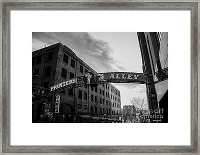 Printers Alley Black And White Framed Print by Marina McLain