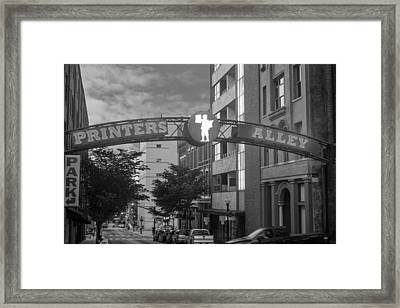 Framed Print featuring the photograph Printers Alley by Robert Hebert