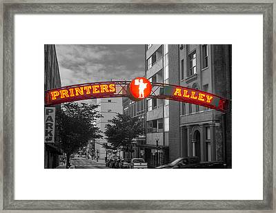 Printers Alley Sign Framed Print by Robert Hebert