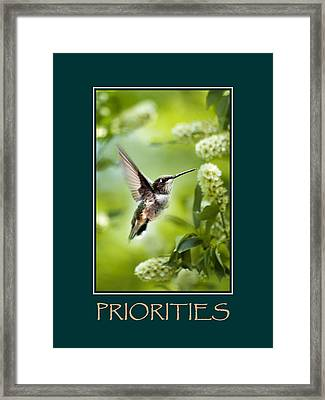 Priorities Inspirational Motivational Poster Art Framed Print by Christina Rollo