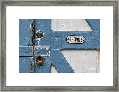 Framed Print featuring the photograph Private by Ana V Ramirez