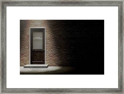 Private Eye Door Outside Framed Print by Allan Swart