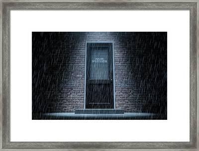 Private Eye Door Outside Rain Framed Print by Allan Swart