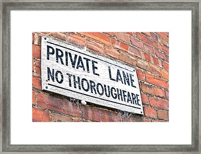 Private Lane Sign Framed Print by Tom Gowanlock