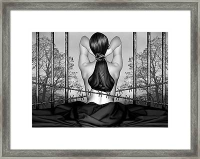 Private Prison Of Pain - Self Portrait Framed Print by Jaeda DeWalt