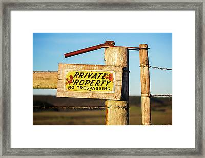 Private Property No Trespassing Framed Print by Todd Klassy