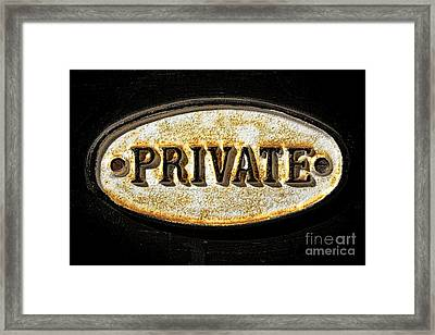 Private Warning Embossed Sign Plaque On Front Door Framed Print by Olivier Le Queinec