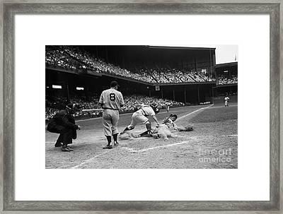 Pro Baseball Player Sliding Into Home Framed Print