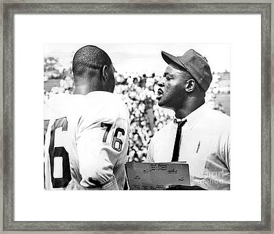 Pro Football Hall Of Famer, Rosy Brown Gives Pointers To Rookie Tackle, Don Davis. 1966 Framed Print