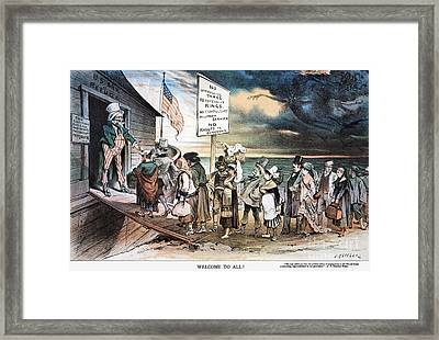 Pro-immigration Cartoon Framed Print