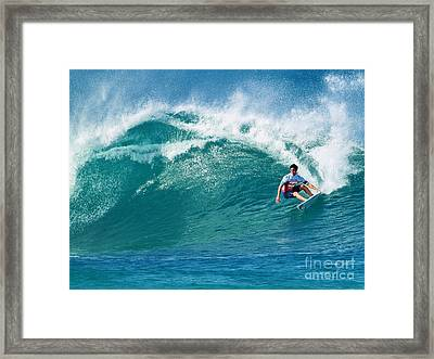 Pro Surfer Gabriel Medina Surfing In The Pipeline Masters Contes Framed Print by Paul Topp
