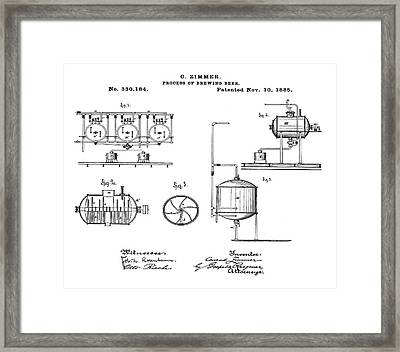 Process Of Brewing Patent 1885  Framed Print by Bill Cannon