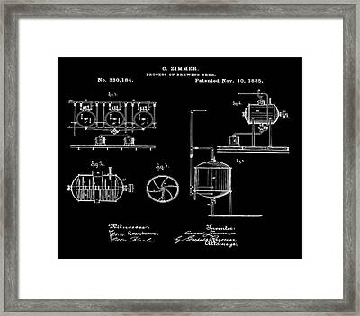 Process Of Brewing Patent 1885 In Black Framed Print by Bill Cannon