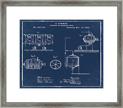 Process Of Brewing Patent 1885 In Blue Framed Print by Bill Cannon
