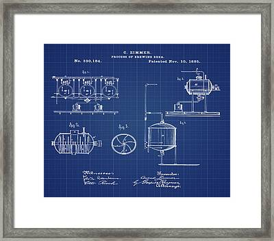 Process Of Brewing Patent 1885 In Blueprint Framed Print by Bill Cannon