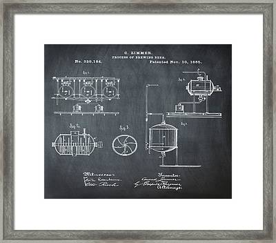 Process Of Brewing Patent 1885 In Chalk Framed Print by Bill Cannon