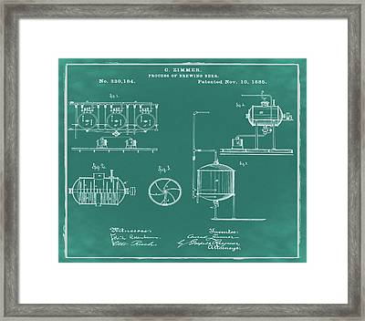 Process Of Brewing Patent 1885 In Green Framed Print by Bill Cannon