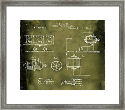 Process Of Brewing Patent 1885 In Grunge Framed Print by Bill Cannon