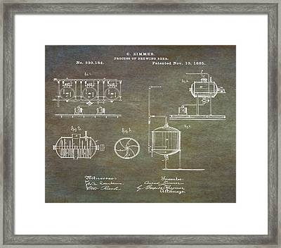 Process Of Brewing Patent 1885 In Marble Framed Print by Bill Cannon