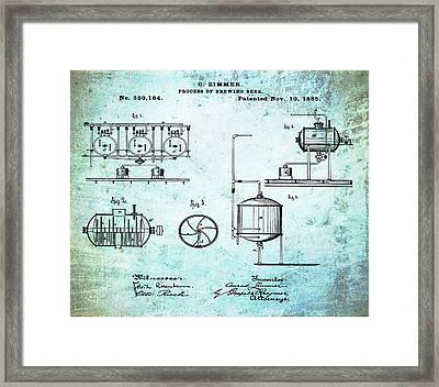 Process Of Brewing Patent 1885 In Old Style Framed Print by Bill Cannon