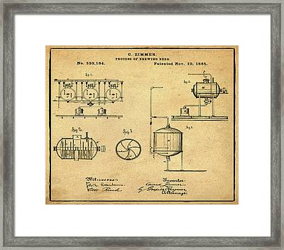 Process Of Brewing Patent 1885 In Sepia Framed Print by Bill Cannon