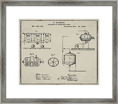 Process Of Brewing Patent 1885 In Tan Framed Print by Bill Cannon
