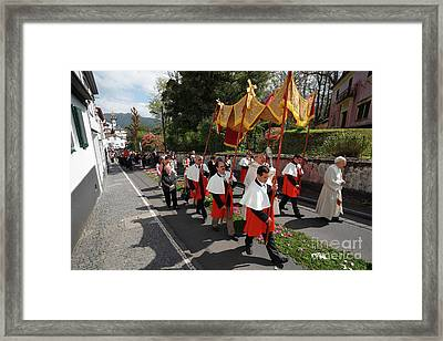 Procession In Azores Islands Framed Print by Gaspar Avila