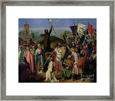 Procession Of Crusaders Around Jerusalem Framed Print by Jean Victor Schnetz