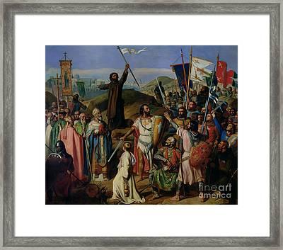 Procession Of Crusaders Around Jerusalem Framed Print