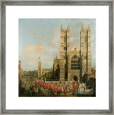 Procession Of The Knights Of The Bath Framed Print by Canaletto
