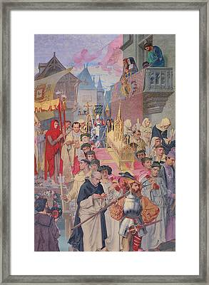 Procession Of The Reliquary Chest Of St Genevieve Framed Print by Theodore Pierre Nicolas Maillot