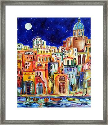 Procida Under The Moon Framed Print