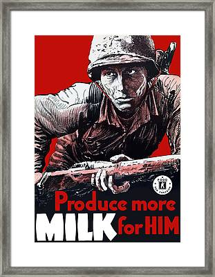 Produce More Milk For Him - Ww2 Framed Print by War Is Hell Store