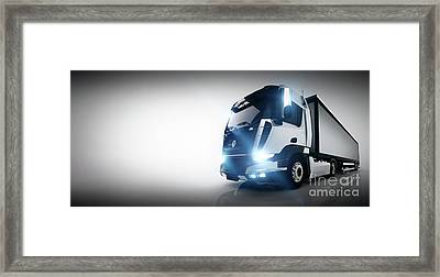 Professional Cargo Delivery Truck With Long Trailer. Banner Framed Print